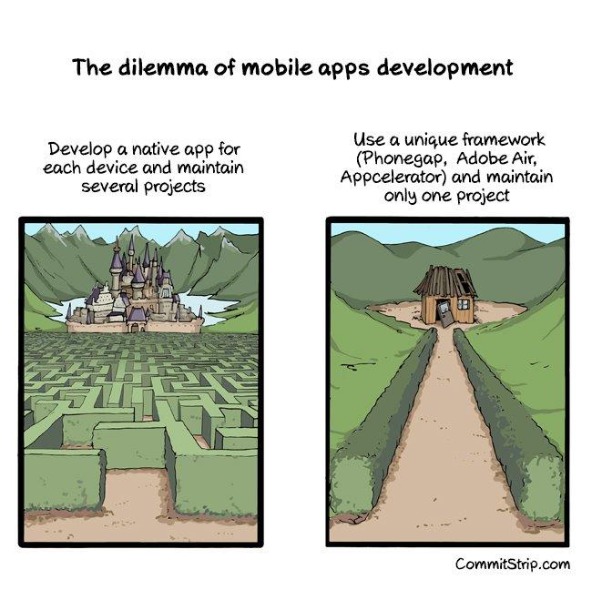 Så här kan man ibland känna när man väljer mellan native app och hybrid app.