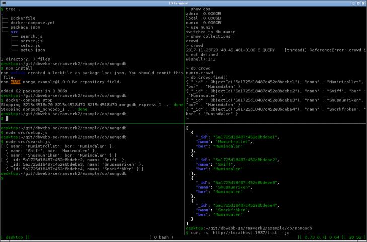 Databasen MongoDB tillsammans med klient, express och samlad i Docker.