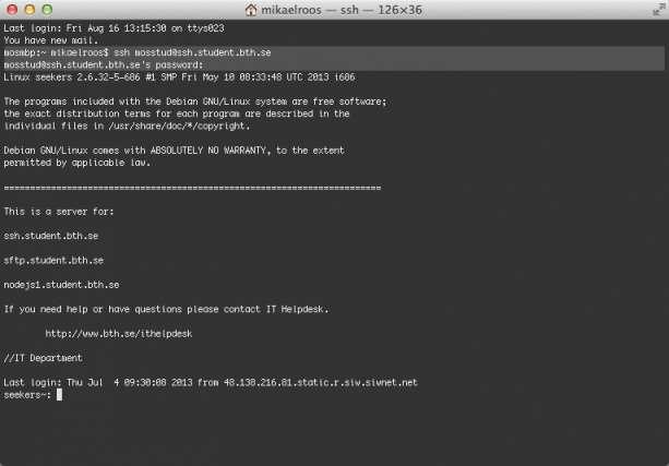 Logga in på studentservern med terminalprogram xterm.