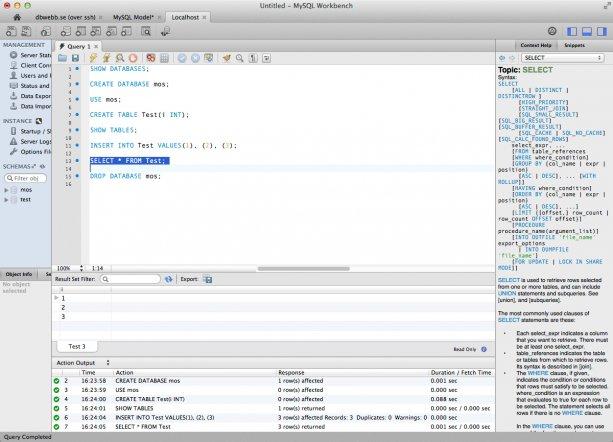 Testar olika kommandon i MySQL Workbench.