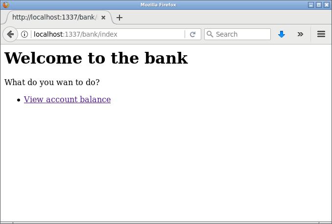 Bankens välkomstsida med en meny om vad du kan göra.