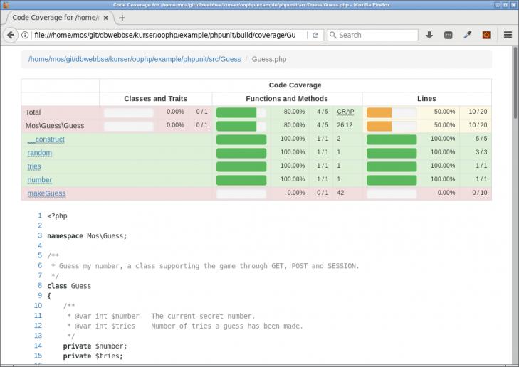 Detaljerad kodtäckning rad för rad i en enhet (klass).
