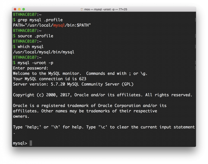 MySQL terminalklient startad i en terminal.