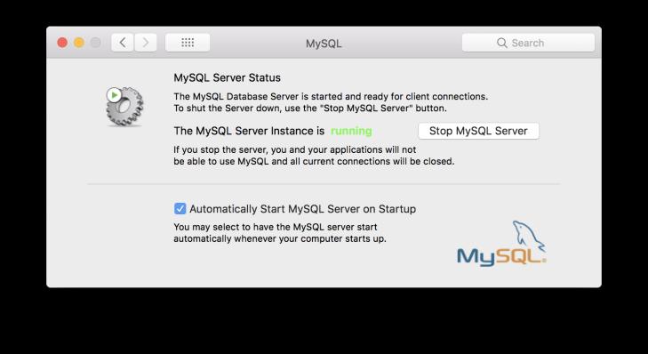 System Preferences innehåller en egen del för MySQL server där den kan stoppas och startas.