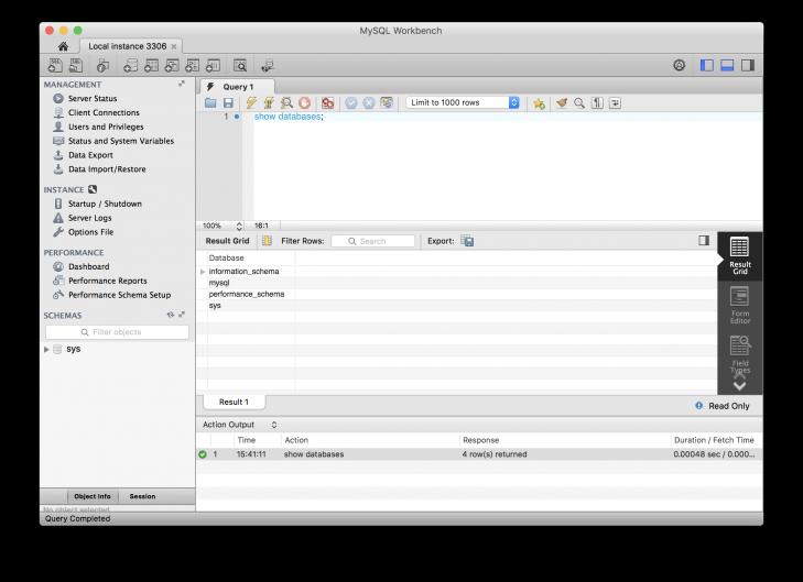 Vi är uppkopplade och kollar vilka databaser som finns tillgängliga på servern.