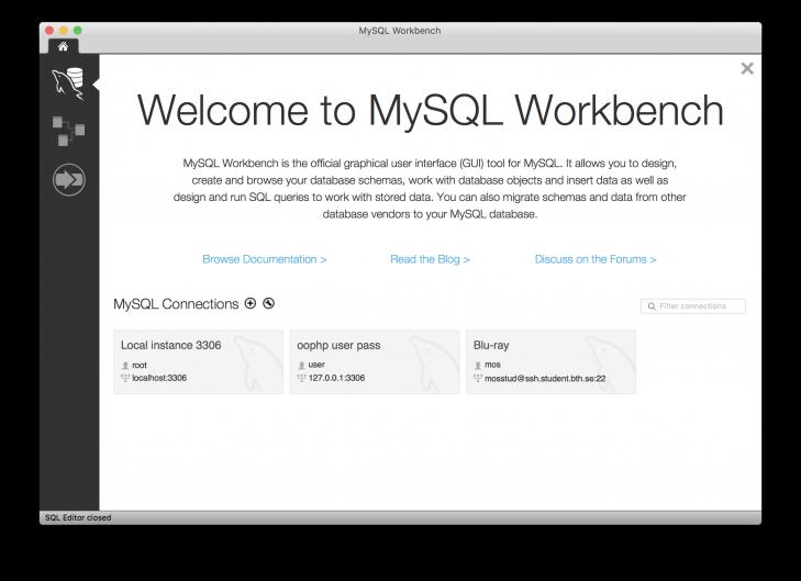 Desktopklienten Workbench är redo att koppla upp sig mot en databas.