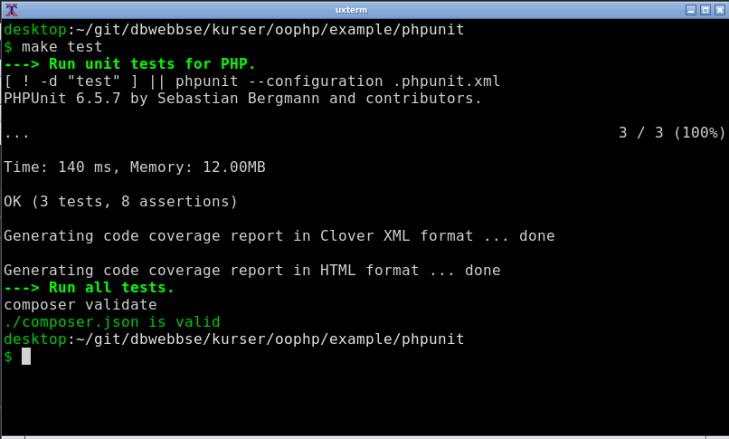 Enhetstestning med PHPUnit via en Makefile.