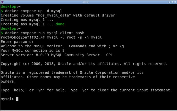 Klienten kopplad mot databasserver med hjälp av docker-compose.