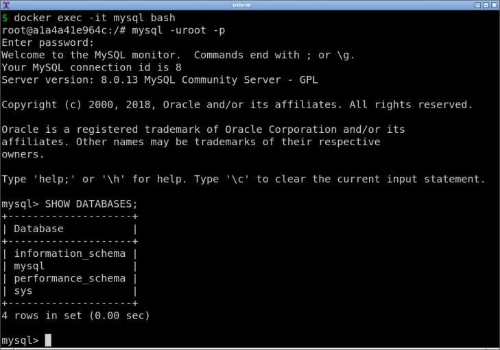 Med hjälp av mysql i docker-kontainern kan du koppla dig mot databasen.