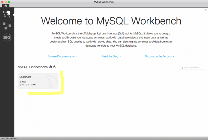 Du kan nu koppla dig direkt mot databasen, via Workbench.