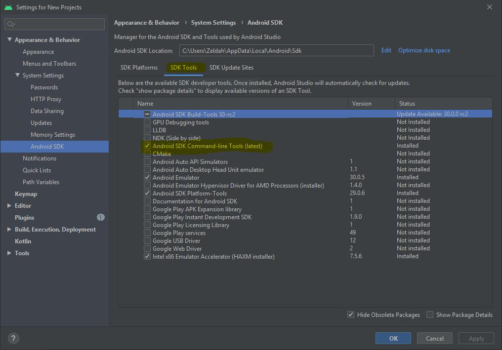 Android Studio SDK Manager commandline-tools.