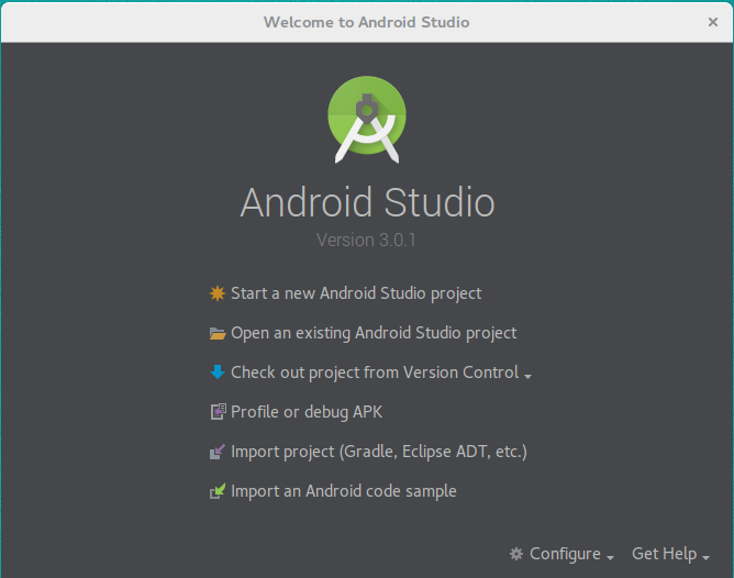 Android Studio startfönster.