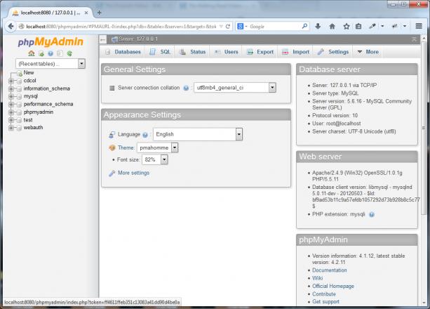 Så här ser det ut när du kör PHPMyAdmin i XAMPP.