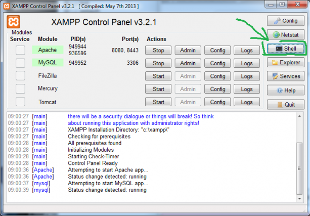Starta ett shell i XAMPP.